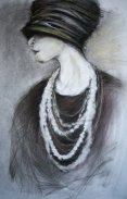 "Flapper 16x24"" Charcoal and Soft Pastel on Paper Original -$850 Prints - please contact"