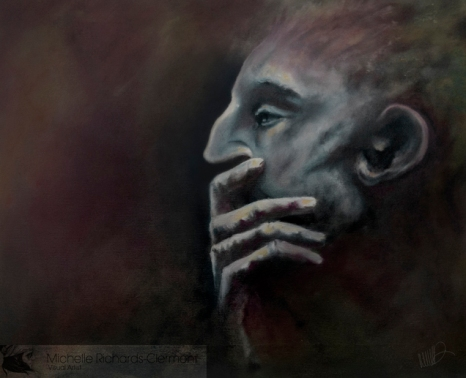 "Pensive 22x18"" Oil on canvas Original - $900 Prints - please contact"
