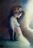 "Window Light 18x24"" Charcoal & Soft Pastel on paper Original - $900 Prints - Please contact"
