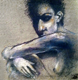 "Woman Sitting & Staring 4x4"""" Charcoal & soft pastel on rag paper Original - $150 Prints - Please contact"